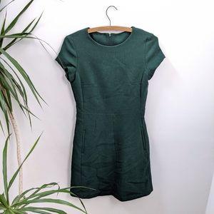 Massimo Dutti Green Short Sleeve Dress